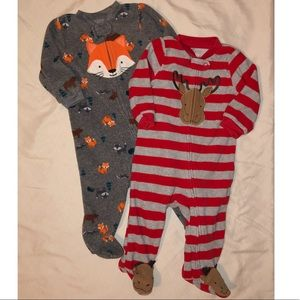 Two 3-6mo fleece footies